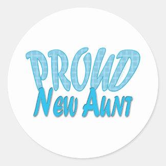 Proud New Aunt Blue Classic Round Sticker