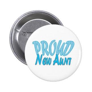 Proud New Aunt Blue Pinback Button