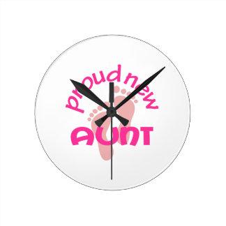 PROUD NEW AUNT ROUND CLOCKS