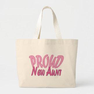 Proud New Aunt Pink Jumbo Tote Bag