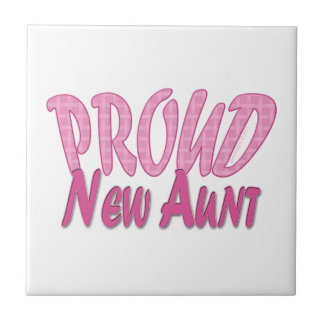 Proud New Aunt Pink Small Square Tile