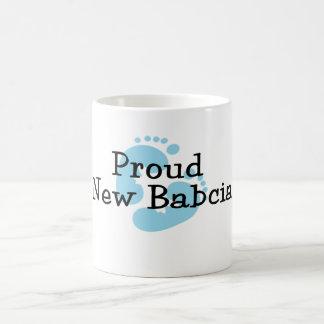 Proud New Babcia Baby Boy Footprints Classic White Coffee Mug