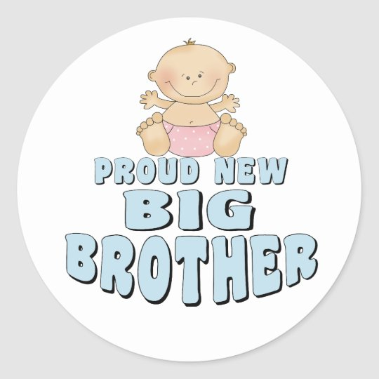 Proud New Big Brother Girl Classic Round Sticker