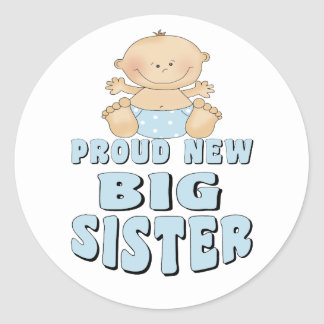 Proud New Big Sister Boy Classic Round Sticker