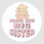Proud New Big Sister Girl Round Sticker
