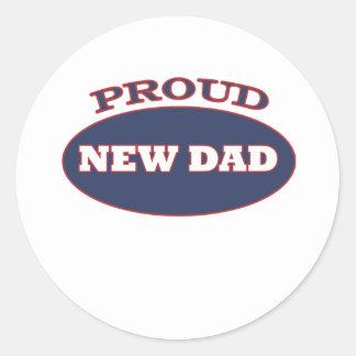 proud new dad classic round sticker