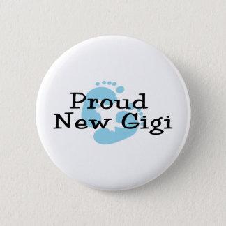 Proud New Gigi Baby Boy Footprints Button