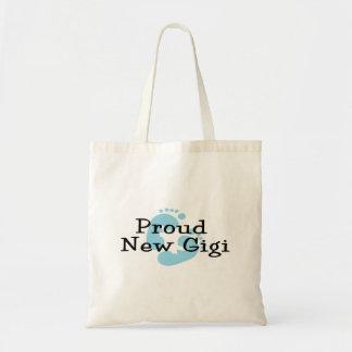 Proud New Gigi Baby Boy Footprints Tote Bag