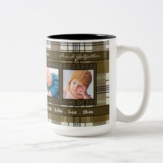 Proud New Godfather 4 Photo Plaid in Brown Two-Tone Coffee Mug