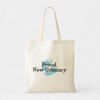 Proud New Grammy Baby Boy Footprints Budget Tote Bag