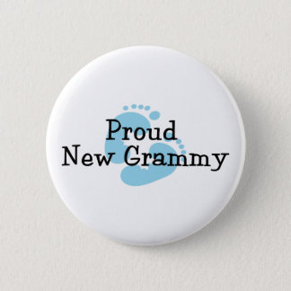 Proud New Grammy Baby Boy Footprints Button
