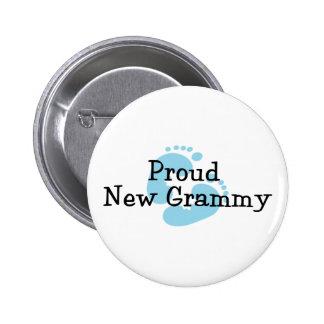 Proud New Grammy Baby Boy Footprints Pinback Button