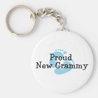 Proud New Grammy Baby Boy Footprints Keychain