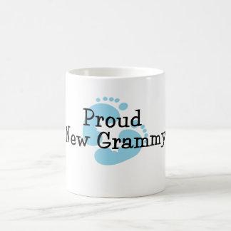 Proud New Grammy Baby Boy Footprints Coffee Mugs