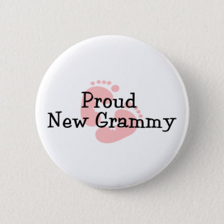 Proud New Grammy Baby Girl Footprints Button