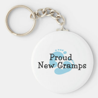 Proud New Gramps Baby Boy Footprints Keychain