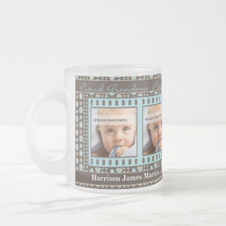 Proud New Grandma 4 Photo Brown and Aqua Frosted Glass Coffee Mug