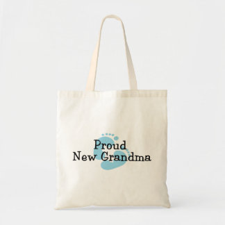 Proud New Grandma Baby Boy Footprints Budget Tote Bag