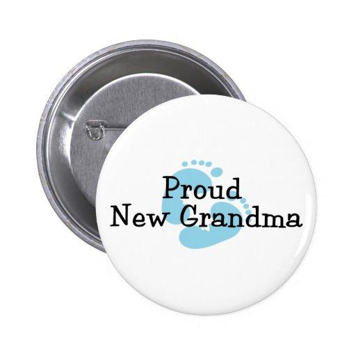 Proud New Grandma Baby Boy Footprints Pin