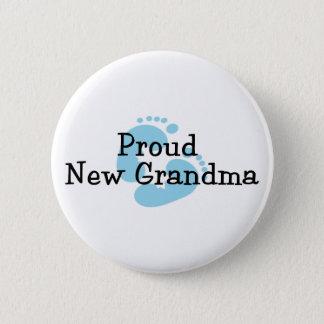 Proud New Grandma Baby Boy Footprints Pinback Button