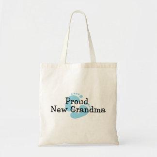 Proud New Grandma Baby Boy Footprints Tote Bag