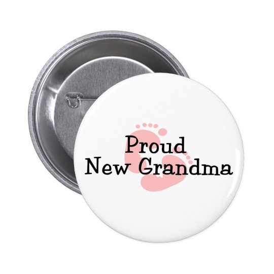 Proud New Grandma Baby Girl Footprints Button