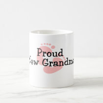 Proud New Grandma Baby Girl Footprints Coffee Mug