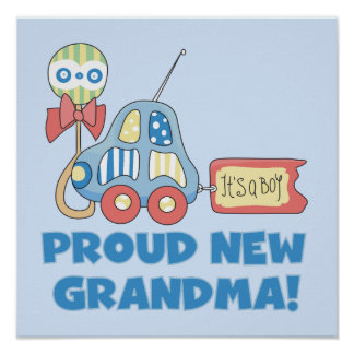 Proud New Grandma It's a Boy Gifts Poster