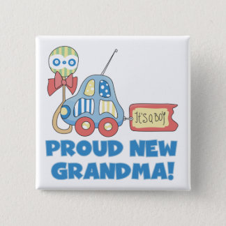 Proud New Grandma-It's a Boy Tshirts and Gifts Button