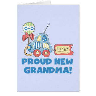 Proud New Grandma-It's a Boy Tshirts and Gifts Card