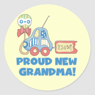 Proud New Grandma-It's a Boy Tshirts and Gifts Stickers