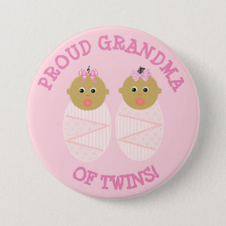 Proud New Grandma of Twins button pink