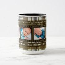 Proud New Grandpa 4 Photo Plaid in Brown Two-Tone Coffee Mug