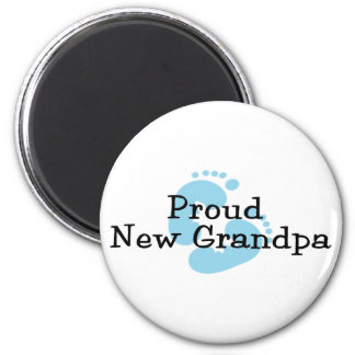 Proud New Grandpa Baby Girl Footprints 2 Inch Round Magnet