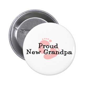 Proud New Grandpa Baby Girl Footprints Pinback Button