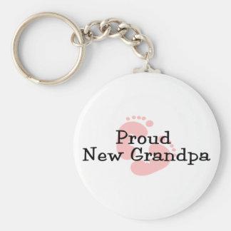 Proud New Grandpa Baby Girl Footprints Keychain