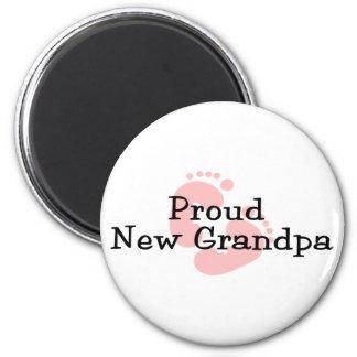 Proud New Grandpa Baby Girl Footprints Refrigerator Magnets