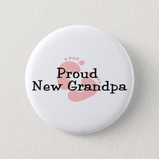 Proud New Grandpa Baby Girl Footprints Pinback Button