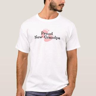 Proud New Grandpa Baby Girl Footprints T-Shirt