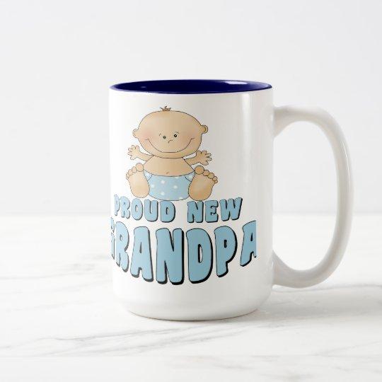 PROUD NEW Grandpa Boy Two-Tone Coffee Mug