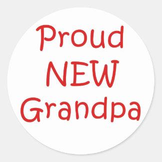 Proud New Grandpa Classic Round Sticker