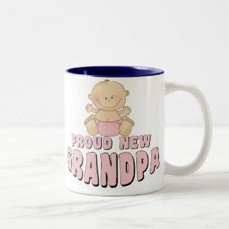 PROUD NEW Grandpa Girl Two-Tone Coffee Mug
