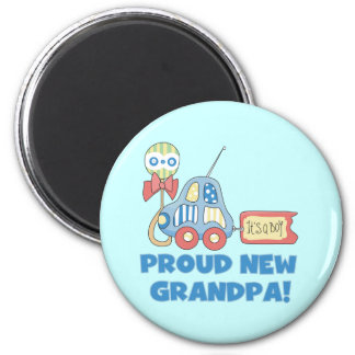 Proud New Grandpa It's a Boy TShirts and Gifts 2 Inch Round Magnet