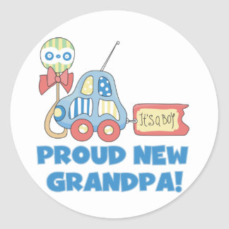 Proud New Grandpa It's a Boy TShirts and Gifts Classic Round Sticker