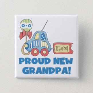Proud New Grandpa It's a Boy TShirts and Gifts Pinback Button