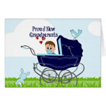 Proud New Grandparents - Blue Greeting Card