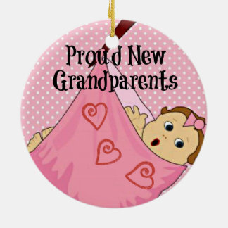 Proud New Grandparents - Pink Double-Sided Ceramic Round Christmas Ornament