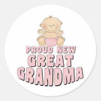 PROUD NEW Great Grandma T-Shirt Classic Round Sticker