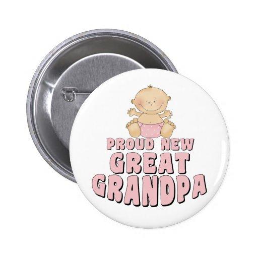 PROUD NEW Great Grandpa Girl Button