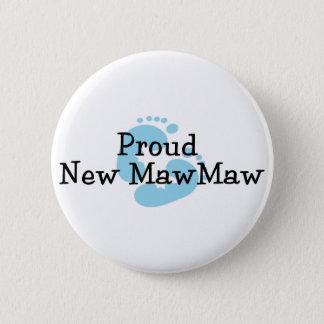 Proud New MawMaw Baby Boy Footprints Pinback Button